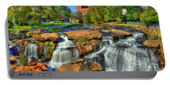 Flow On Reedy River Falls Park Art Greenville Sc Portable Battery Charger