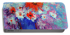 Flower Bouquet Modern Impressionistic Art Palette Knife Work Portable Battery Charger