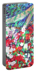 Portable Battery Charger featuring the painting Flower Bower by Esther Newman-Cohen
