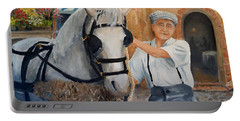 Portable Battery Charger featuring the painting Flower Cart Man by Alan Lakin