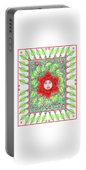 Portable Battery Charger featuring the mixed media Flower Face by Lise Winne