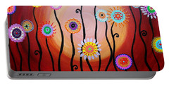 Portable Battery Charger featuring the painting Flower Fest by Pristine Cartera Turkus