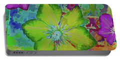 Portable Battery Charger featuring the mixed media Flower Fire 5 by Lynda Lehmann