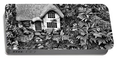 Flower Garden Cottage In Black And White Portable Battery Charger