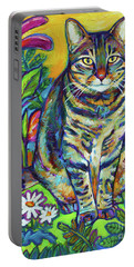 Portable Battery Charger featuring the painting Flower Kitty by Robert Phelps