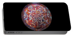 Portable Battery Charger featuring the sculpture Flower Of Life Copper Lightmandala by Robert Thalmeier