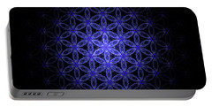 Flower Of Life In Blue Portable Battery Charger