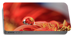 Flower Reflection In Water Drop Portable Battery Charger