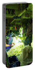 Portable Battery Charger featuring the photograph Flower Stalls Market Chennai India by Mike Reid