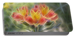 Flower Streaks Portable Battery Charger by Carol Crisafi