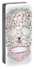 Flower Sugar Skull Portable Battery Charger by Stephanie Troxell