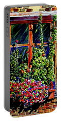 Flower Window Portable Battery Charger by Terry Banderas