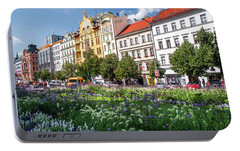 Portable Battery Charger featuring the photograph Flowering Wenceslas Square In Prague by Jenny Rainbow