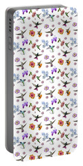 Portable Battery Charger featuring the digital art Flowers And Hummingbirds 1 by Rachel Lee Young