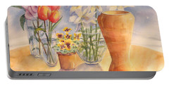 Flowers And Terra Cotta Portable Battery Charger