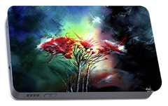 Portable Battery Charger featuring the painting Flowers by Anil Nene