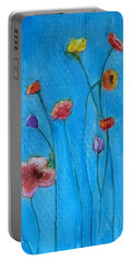 Flowers Blue Background Portable Battery Charger