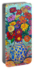 Flowers - Colorful Zinnias Bouquet Portable Battery Charger