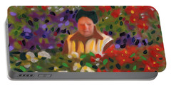 Portable Battery Charger featuring the painting Flowers For Sale by Deborah Boyd