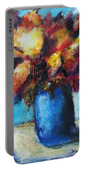 Portable Battery Charger featuring the painting Flowers In A Blue Vase. by Yulia Kazansky