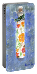 Portable Battery Charger featuring the painting Flowers In A Bottle by Jamie Frier