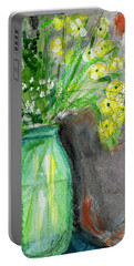 Flowers In A Green Jar- Art By Linda Woods Portable Battery Charger by Linda Woods
