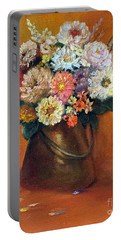 Portable Battery Charger featuring the painting Flowers In A Metal Vase  by Marlene Book