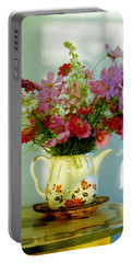 Portable Battery Charger featuring the photograph Flowers In A Teapot by Patricia Greer