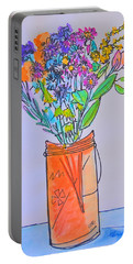 Flowers In An Orange Mason Jar Portable Battery Charger