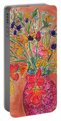Flowers In Red Vase Portable Battery Charger by Gerhardt Isringhaus