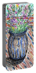 Flowers In Stripped Vase Portable Battery Charger by Gerhardt Isringhaus