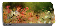 Portable Battery Charger featuring the digital art Flowers Of Corfu by Lois Bryan