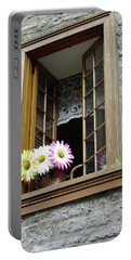 Portable Battery Charger featuring the photograph Flowers On The Sill by John Schneider