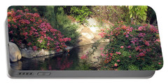Flowers Over Pond Portable Battery Charger