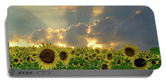 Flowers, Pillars And Rays, His Glory Will Shine Portable Battery Charger