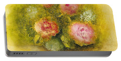 Flowers Pink Portable Battery Charger by Marlene Book