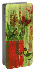 Portable Battery Charger featuring the mixed media Flowers,butteriflies, And Vase by P J Lewis