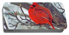 Fluffed Up Male Cardinal Portable Battery Charger