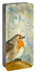 Portable Battery Charger featuring the painting Fluffy Bird In Snow by Maria Langgle