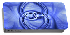 Portable Battery Charger featuring the digital art Fluid Blue by Carolyn Marshall