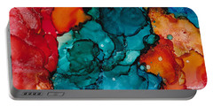 Portable Battery Charger featuring the painting Fluid Depths Alcohol Ink Abstract by Nikki Marie Smith