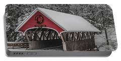 Flume Covered Bridge In Winter Portable Battery Charger