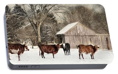 Portable Battery Charger featuring the photograph Flurries On The Farm by Robin-Lee Vieira