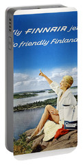 Fly Finnair Jet To Friendly Finland - Finland Airways - Retro Travel Poster - Vintage Poster Portable Battery Charger