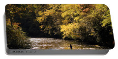 Fly Fisherman On The Tellico - D010008 Portable Battery Charger by Daniel Dempster