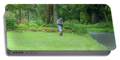 Fly Fishing On Trout Run Creek Portable Battery Charger