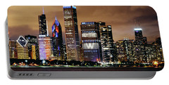 Cubs World Series Chicago Skyline Portable Battery Charger by Horsch Gallery