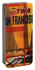 Fly Twa San Francisco - Trans World Airlines - Retro Travel Poster - Vintage Poster Portable Battery Charger