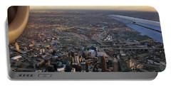 Flying Over Cincinnati Portable Battery Charger by Joann Vitali