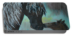 Portable Battery Charger featuring the painting Foal Kiss by Leslie Allen